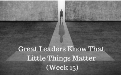 Great Leaders Know That Little Things Matter – Week 15